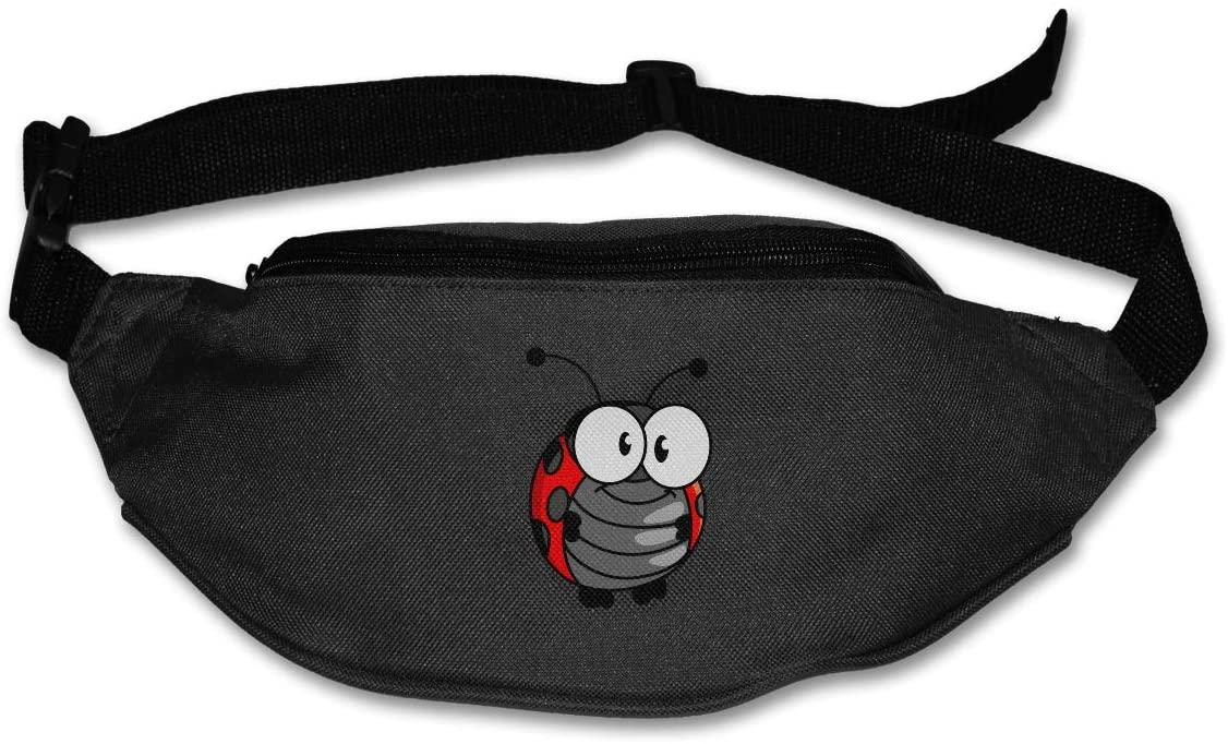 SWEET-YZ Unisex Waist Pack Cartoon Ladybug Flat Fanny Bag Pack for Sport Running