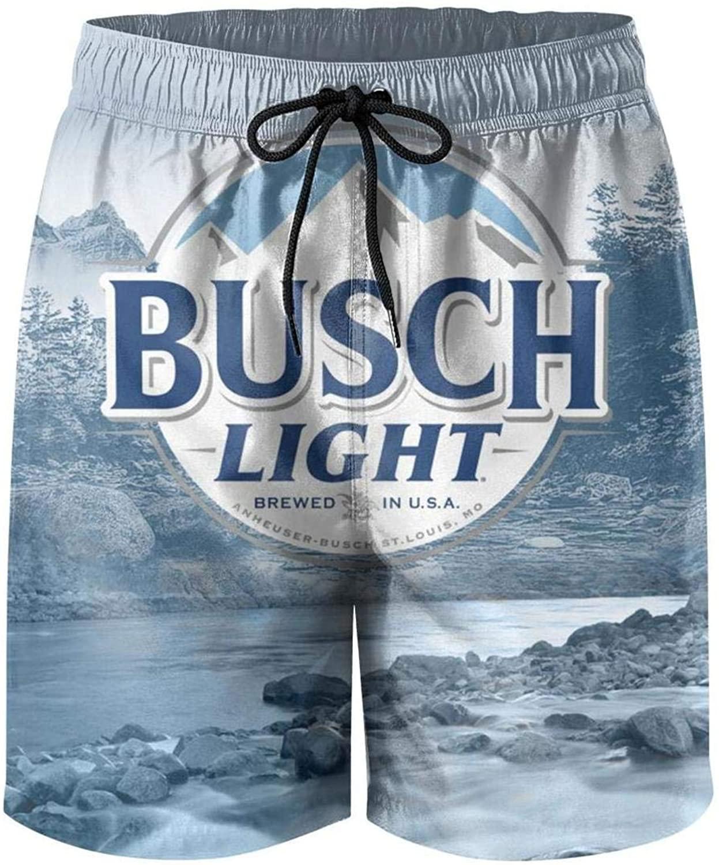 CAEEKER Mens Swim Trunks Busch-Light-Beer-Outdoors-Partner- Shorts Cool Surfing Quick Dry