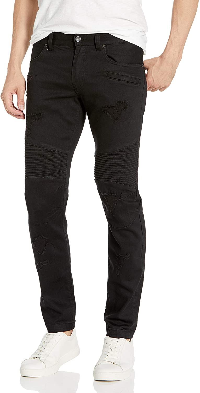 AX Armani Exchange Men's Patch & Repair Colored Skinny Fit Motorcycle Denim Jeans