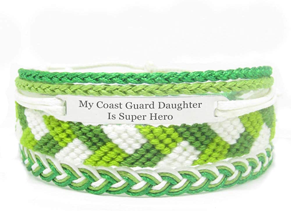 Miiras Family Engraved Handmade Bracelet - My Coast Guard Daughter is Super Hero - Green - Made of Embroidery Thread and Stainless Steel - Gift for Coast Guard Daughter