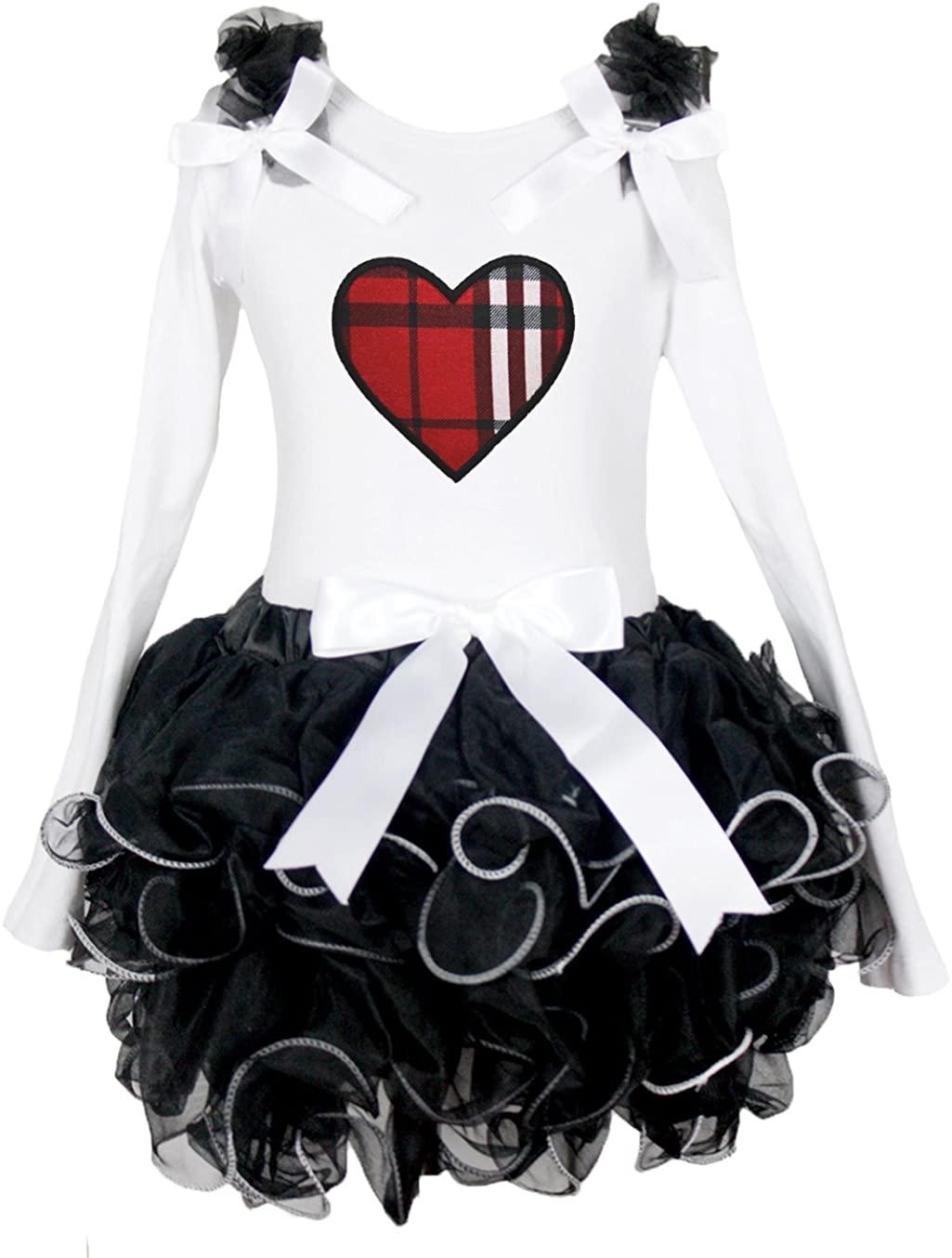 Valentine Dress Plaid Heart White Shirt Black Petal Skirt Set 1-8y