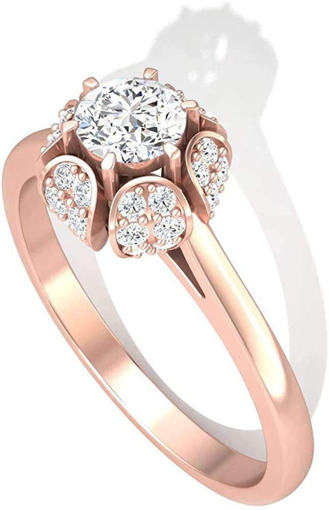 0.49CT Round IGI Certified Diamond Halo Engagement Ring, Antique IJ-SI Diamond Cluster Flower Wedding Bridal Ring, Gold Engraved Promise Ring Set Gift, 14K Rose Gold, Size:US 6.0