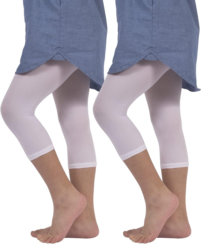 2 Pairs Girls Cropped Leggings | Capri Footless Pants | 40 DEN | White, Black | Italian Hosiery |