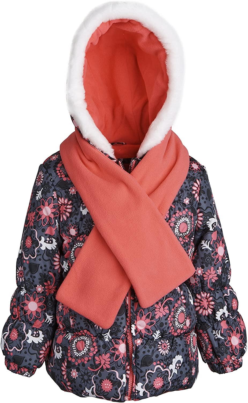 LONDON FOG Little Girls Faux Down Warm Puffer Jacket Coat with Fleece Lined Hood