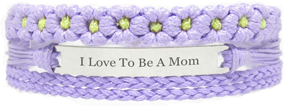 Miiras Family Engraved Handmade Bracelet - I Love to Be A Mom - Purple FL - Made of Braided Rope and Stainless Steel - Gift for Mom