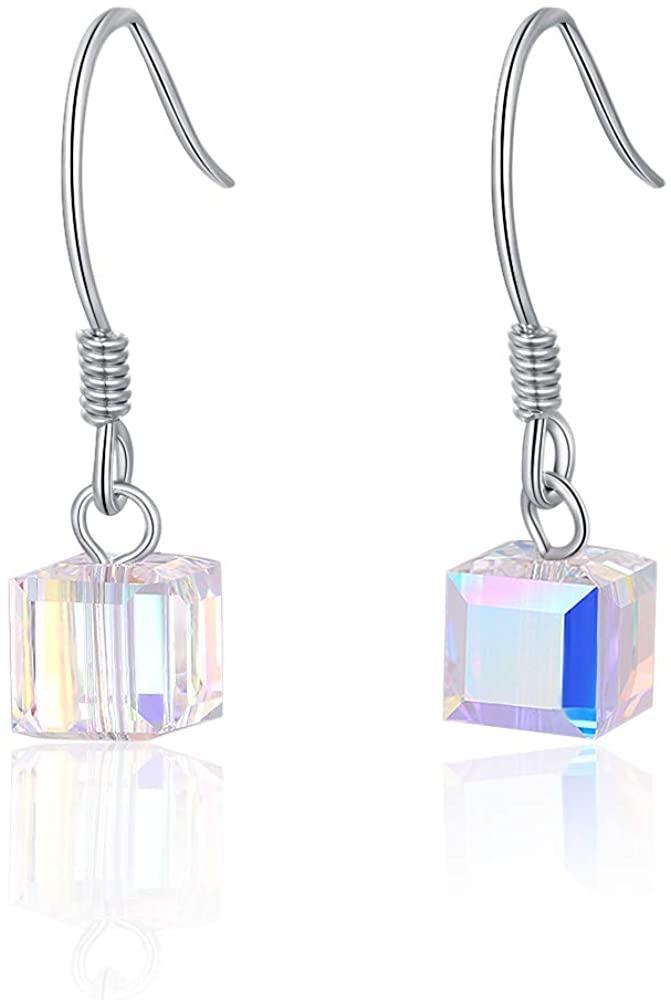 925 Sterling Silver Earrings, 5A Cubic Zirconia Teardrop Earrings