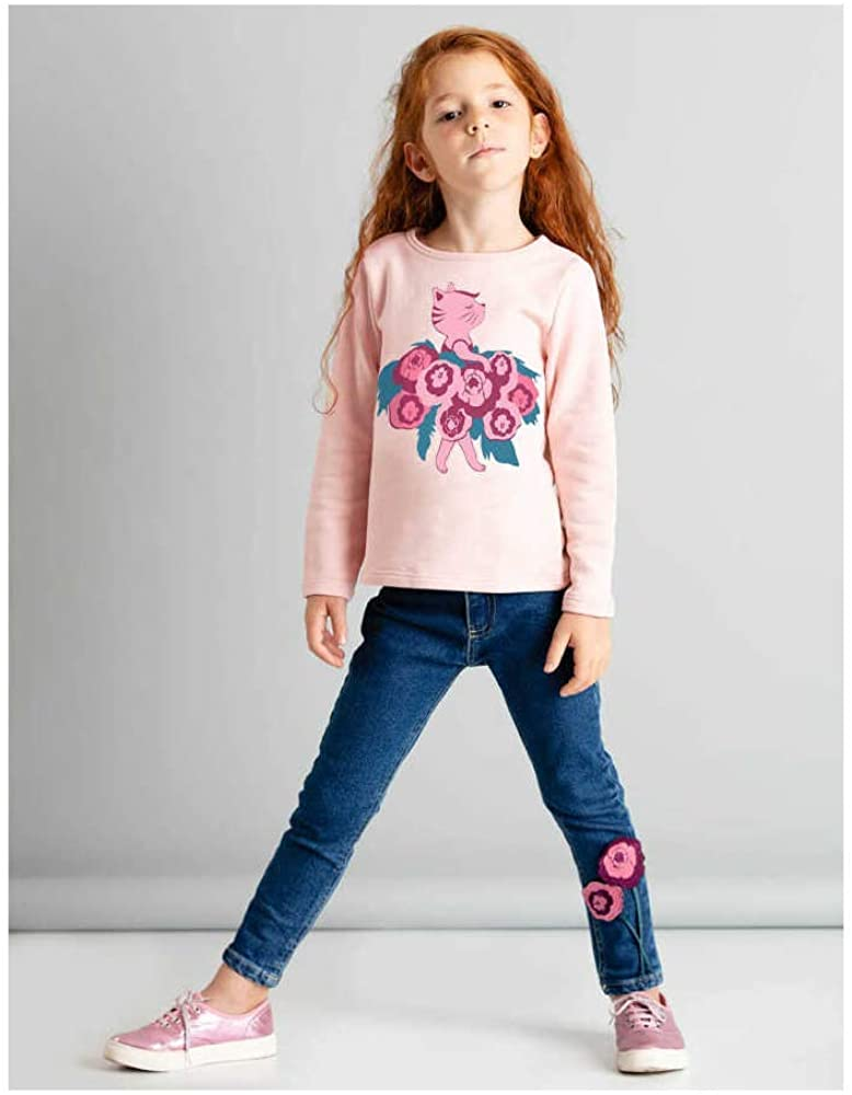 Kitty Sweat-Shirt + Jean Set 2 Piece Set, Cat Printed Sweat-Shirt and Jean with Flower Applique on Cuff. Pink