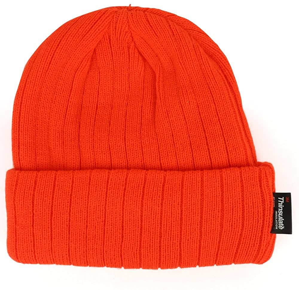 Trendy Apparel Shop High Visibility Neon Colored 3M Thinsulate Long Cuff Winter Beanie