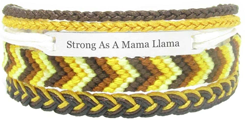 Miiras Family Engraved Handmade Bracelet - Strong As A Mama Llama - Yellow - Made of Embroidery Thread and Stainless Steel - Gift for Mama Llama