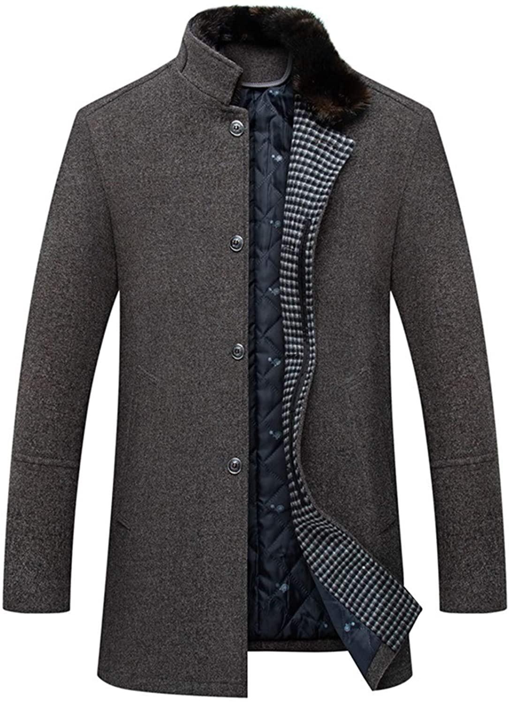 Setwell Winter Men's Woolen Coat Fur Collar Warm Coats Male Solid Color Slim Casual Windbreaker Jacket