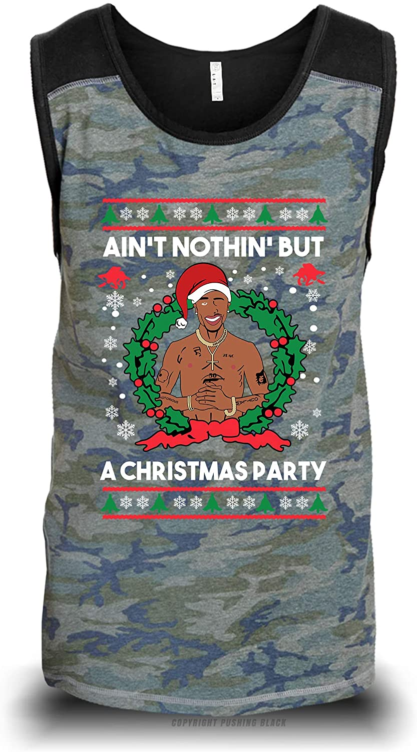 Aint Nothing But a Christmas Party Unisex Raglan Tank Top (Camouflage with Black Shoulders (LAT), X-Large)