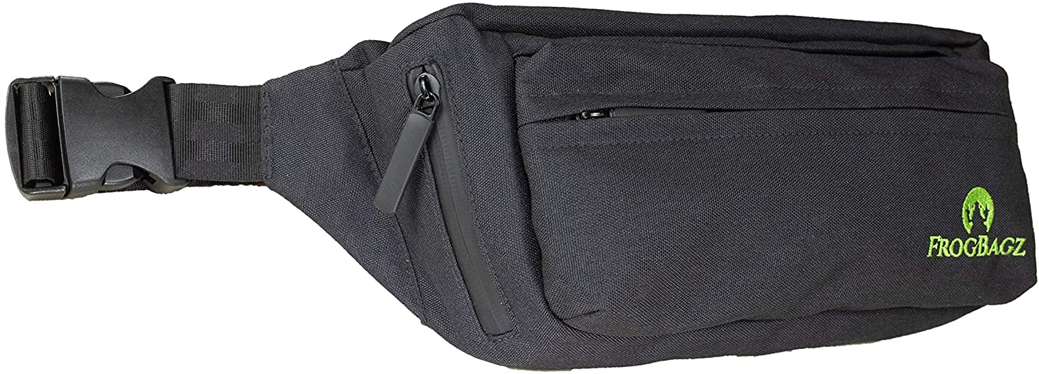 Frog Bagz - Travel Fanny Pack, Black with Waterproof Polyester and Zippers for All-Weather Protection with Adjustable Strap from 20 Inches to 50 Inches with 4 Cargo Pockets