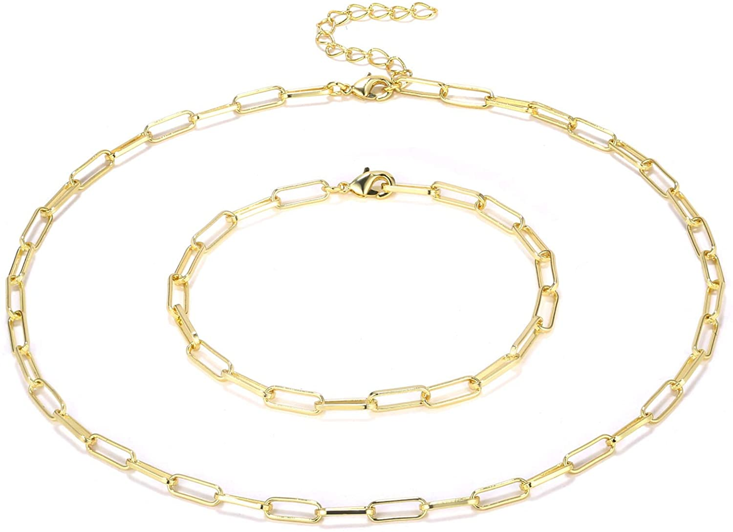 Women Chain Necklace and Bracelet Jewelry Set, 14K Gold Plated Paperclip Oval Link Chains Choker for Girls