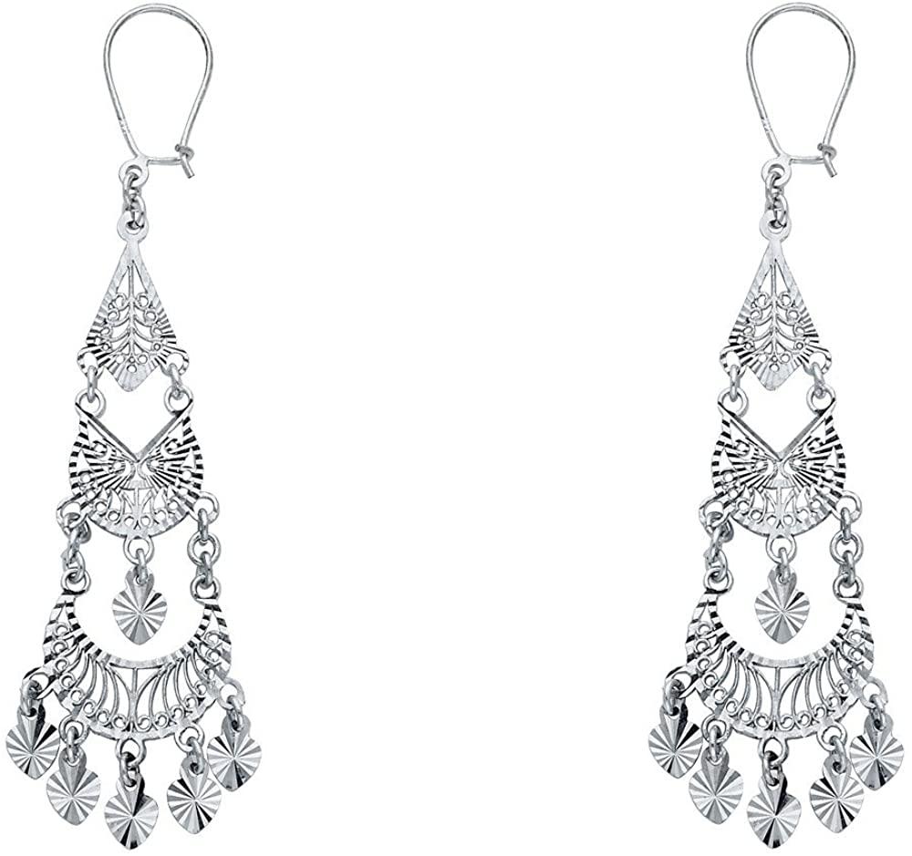 14k White Gold Edwardian Era Chandelier Earrings