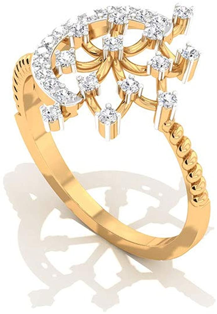 Antique Half Moon Diamond IGI Certified Ring, Art Deco Engagement Ring, IJ-SI Color Clarity Diamond Snowflake Ring, Celestial Wedding Ring for Her, 14K Yellow Gold, Size:US 9.0