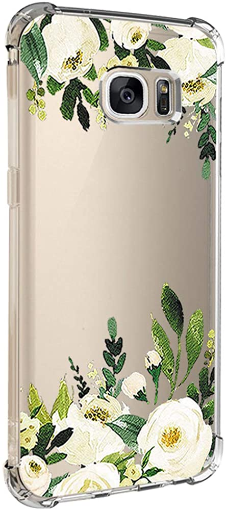 Compatible for Samsung Galaxy S7 Edge Case Clear Flower Flexible Silicone Shell Thin Shockproof Transparent Floral Cover