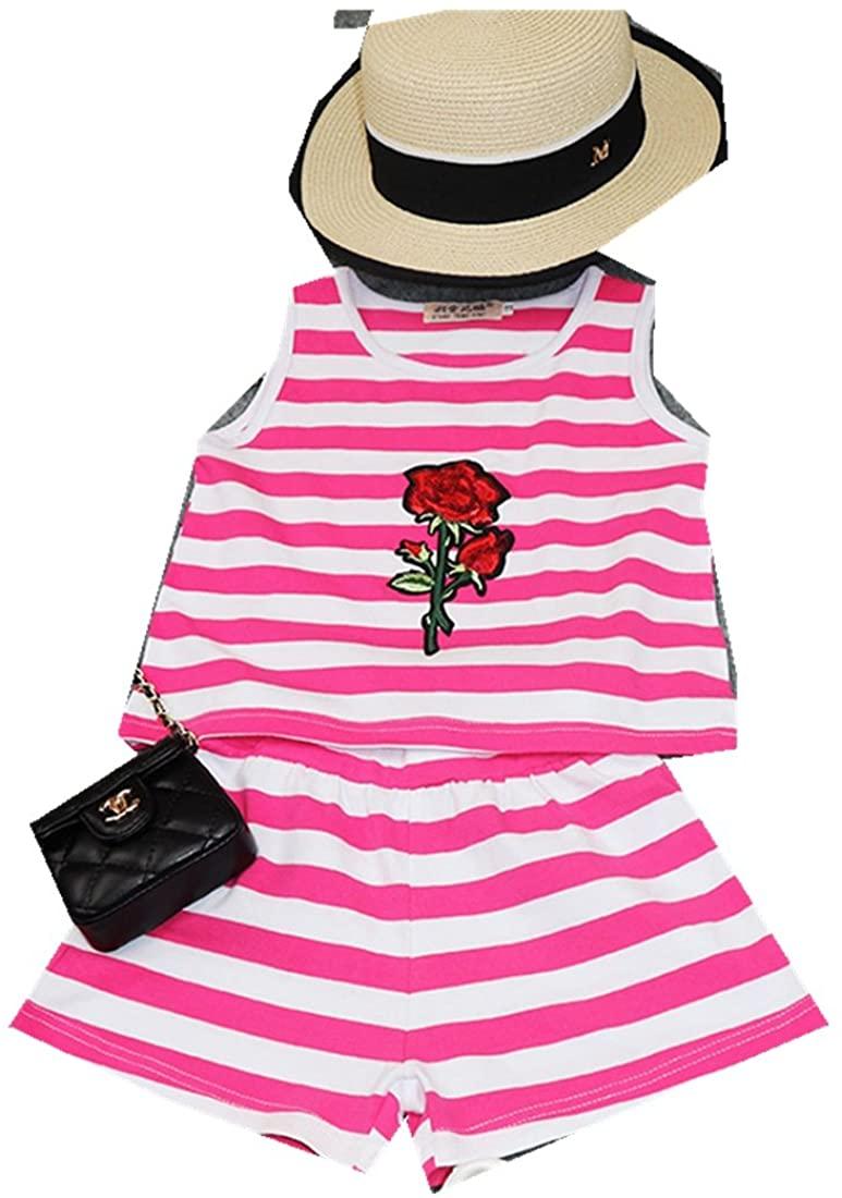 MV Girls Suits Summer New Korean Childrens Kids Clothes Baby Vest Two-Piece Suit