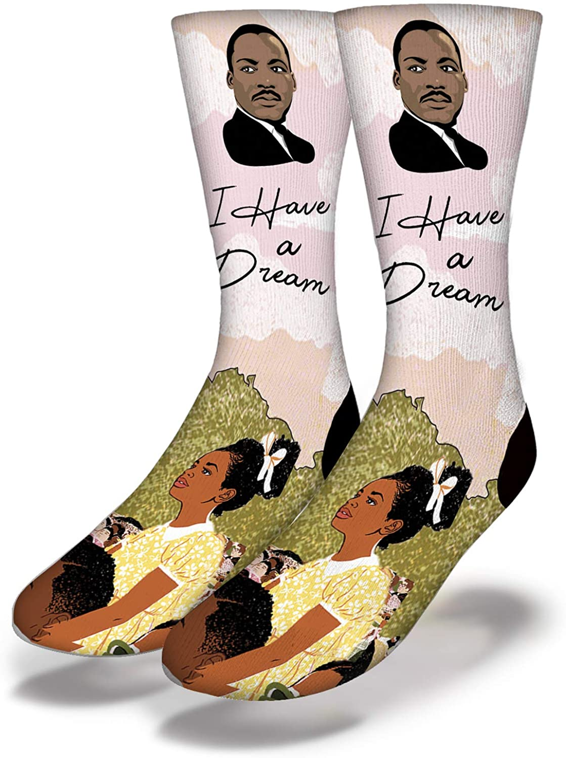 Savvy Sox Martin Luther King Jr Unisex Socks - Polyblend Fabric, Ribbed Cushioned Heel - One Size Fits All