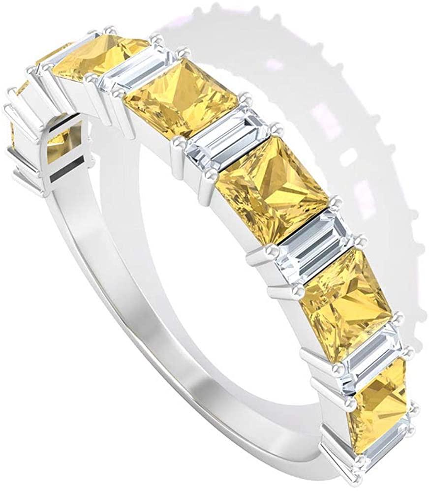 0.77 Ct Princess Cut Citrine Ring, 0.4 Ct IGI Certified Diamond Wedding Ring, Baguette Shape Diamond IJ-SI Color Clarity Ring, Gemstone Eternity Ring