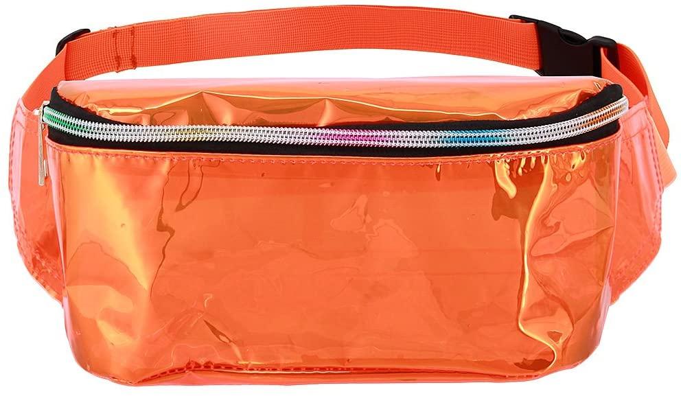 Naimo Unisex Holographic Transparency PVC Fanny Waist Pack Belt Waist Bum Bag Laser Travel Beach Purse