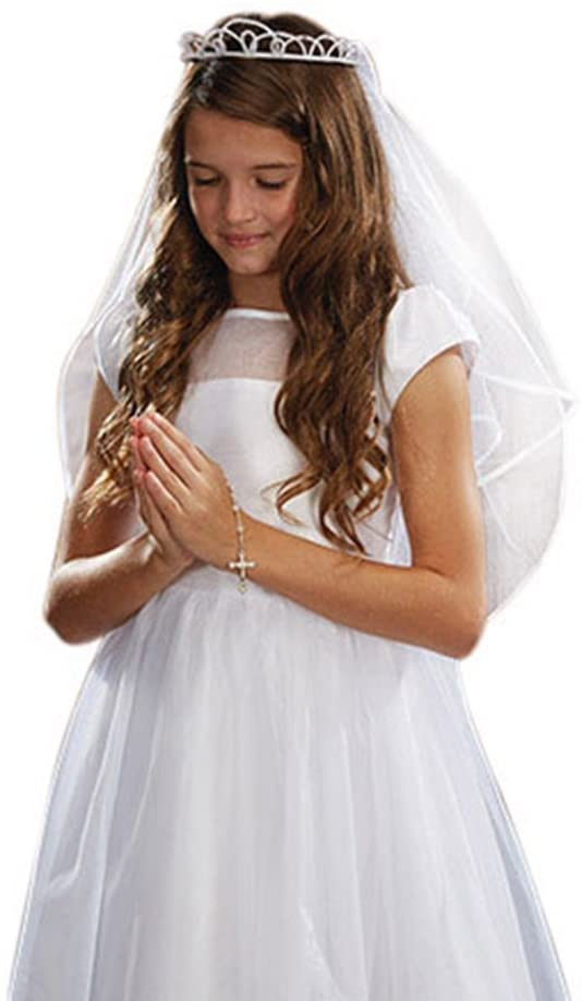Sacred Traditions Girls First Communion White Satin and Tulle Veil with Faux Pearl Tiara, 26 Inch