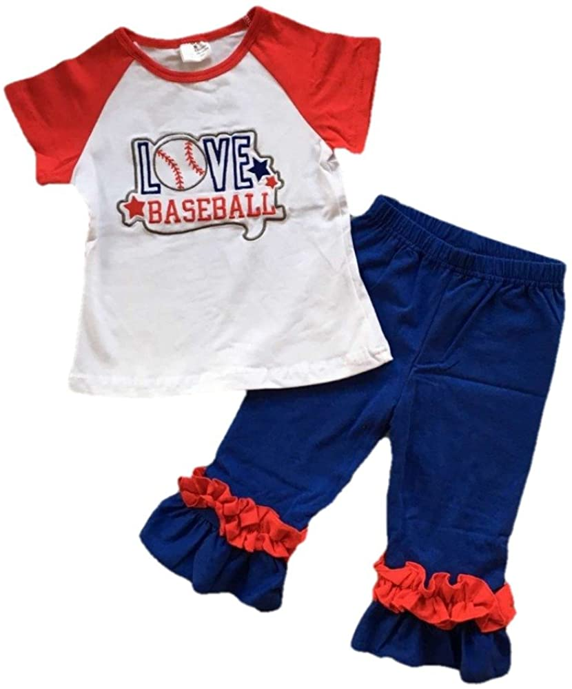 Cute Kids Clothing Toddler Girl Outfit Love Baseball Capri Pant Boutique Outfit Clothing Set