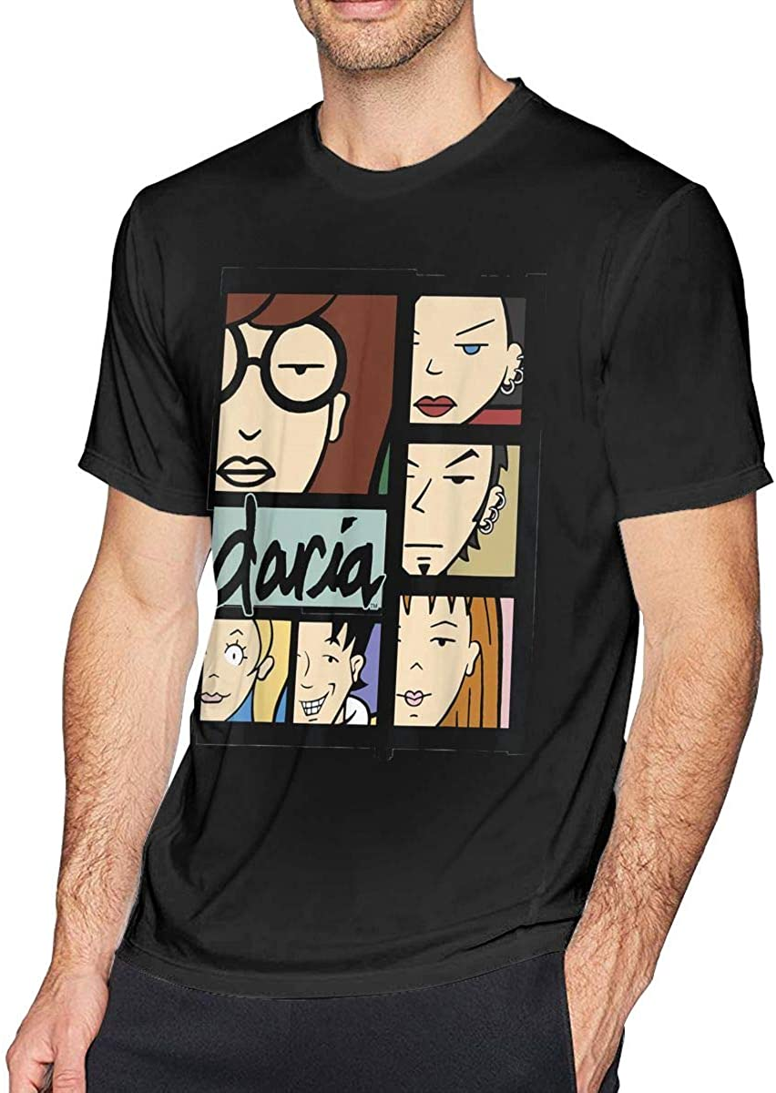 Daria Character Panels Logo Short Sleeve Men's Round Neck Tops Cotton T-Shirt Black