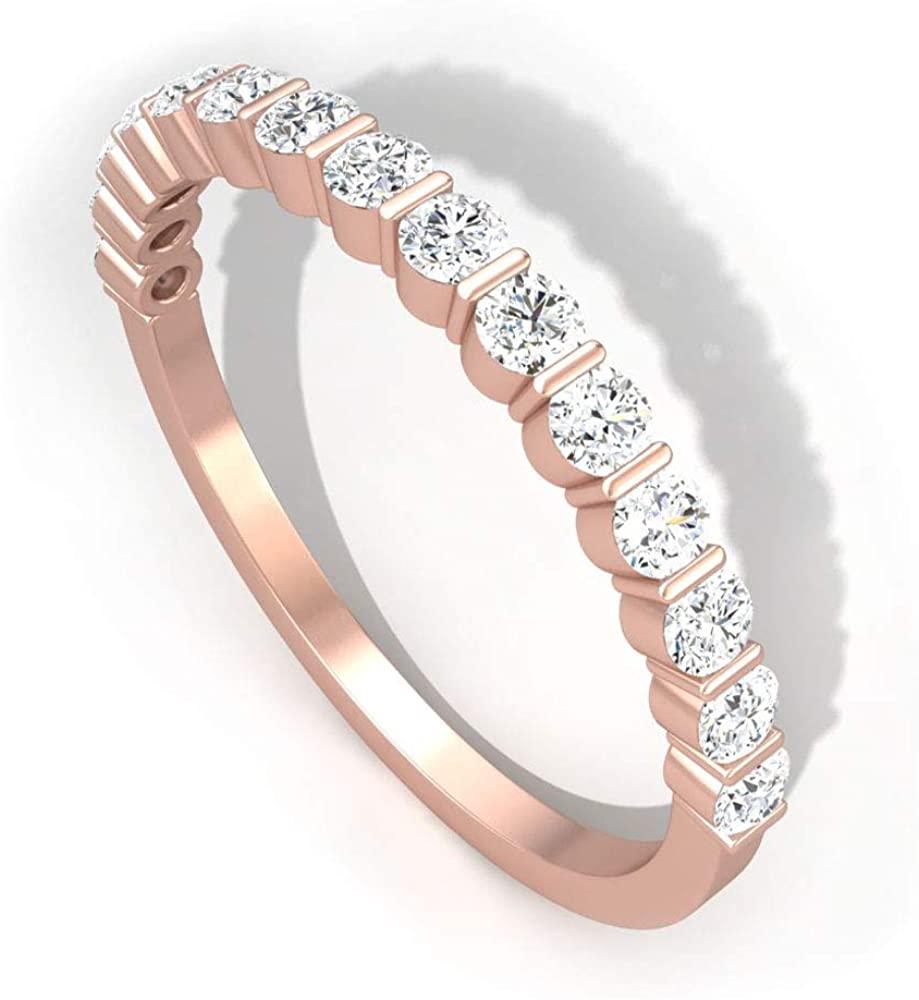 0.45 Carat Round IGI Certified Diamond Anniversary Eternity Ring, Minimal Stackable Bridal Promise Matching Ring Set, Mother Birthday Anniversary Ring, 14K Rose Gold, Size:US 9.5