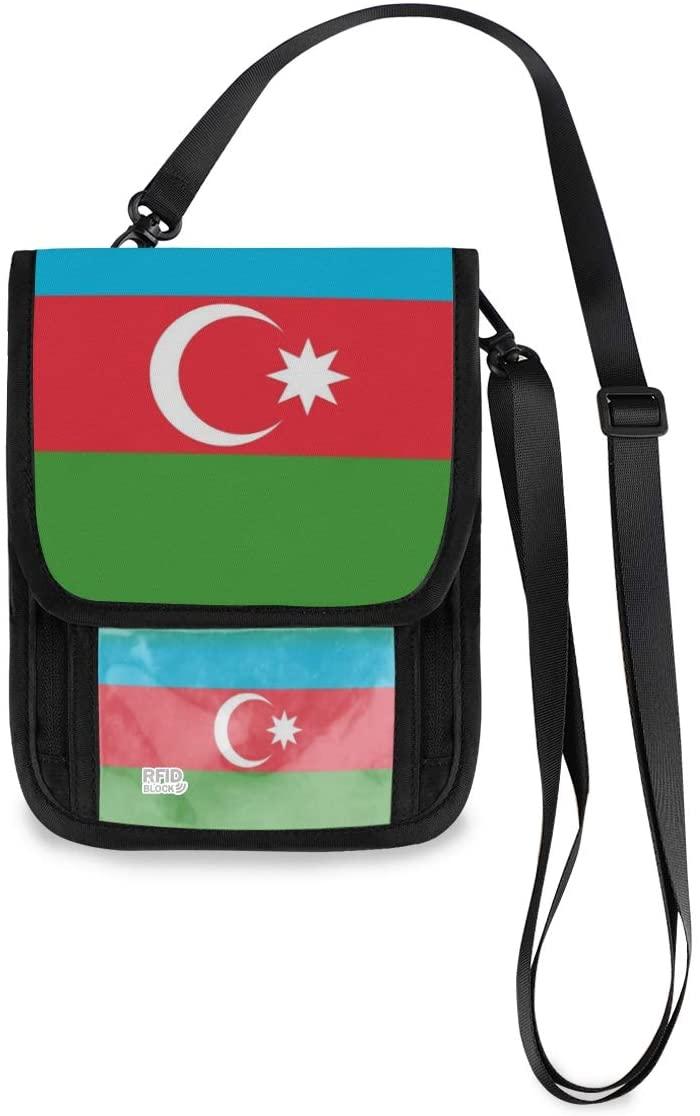 Travel Neck Wallet Flag Of Azerbaijan National Passport Holder Organized Travel Neck Pouch Crossbody Phone Bag for Women Men