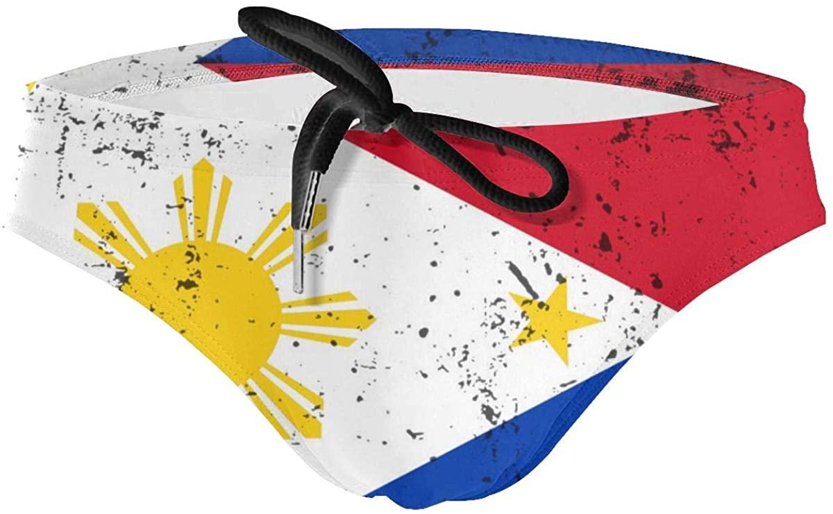 HBWUYZU-T Retro Philippines Flag Mens Sport Drawstring Bikini Swimsuit