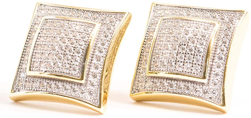 14K Gold Plated Large CZ Square Stud Earrings