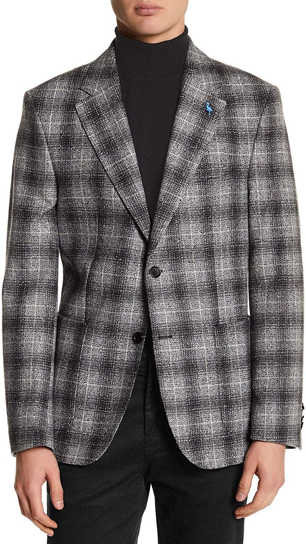 TailorByrd Mens Slim Fit Plaid Unstructured Sportcoat 46 Regular Grey