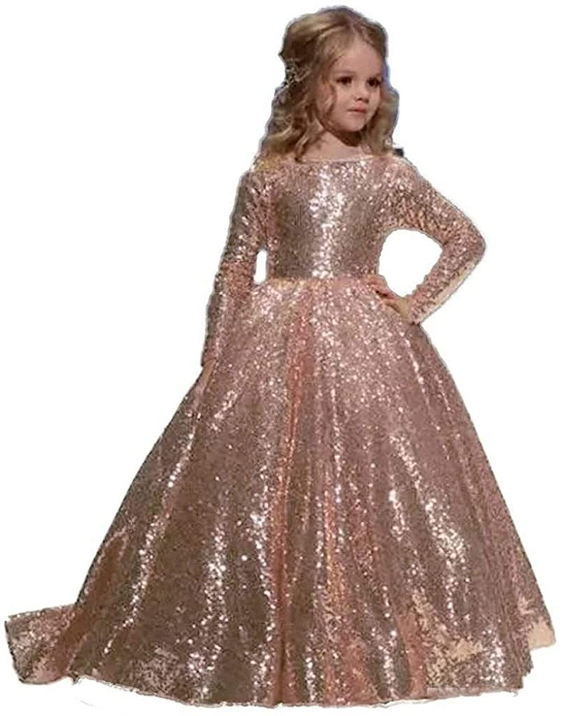 HEVECI Hengyud Rose Gold Sequins Toddler Pageant Dresses for Girls Long Sleeves Prom Dress for Kids 168