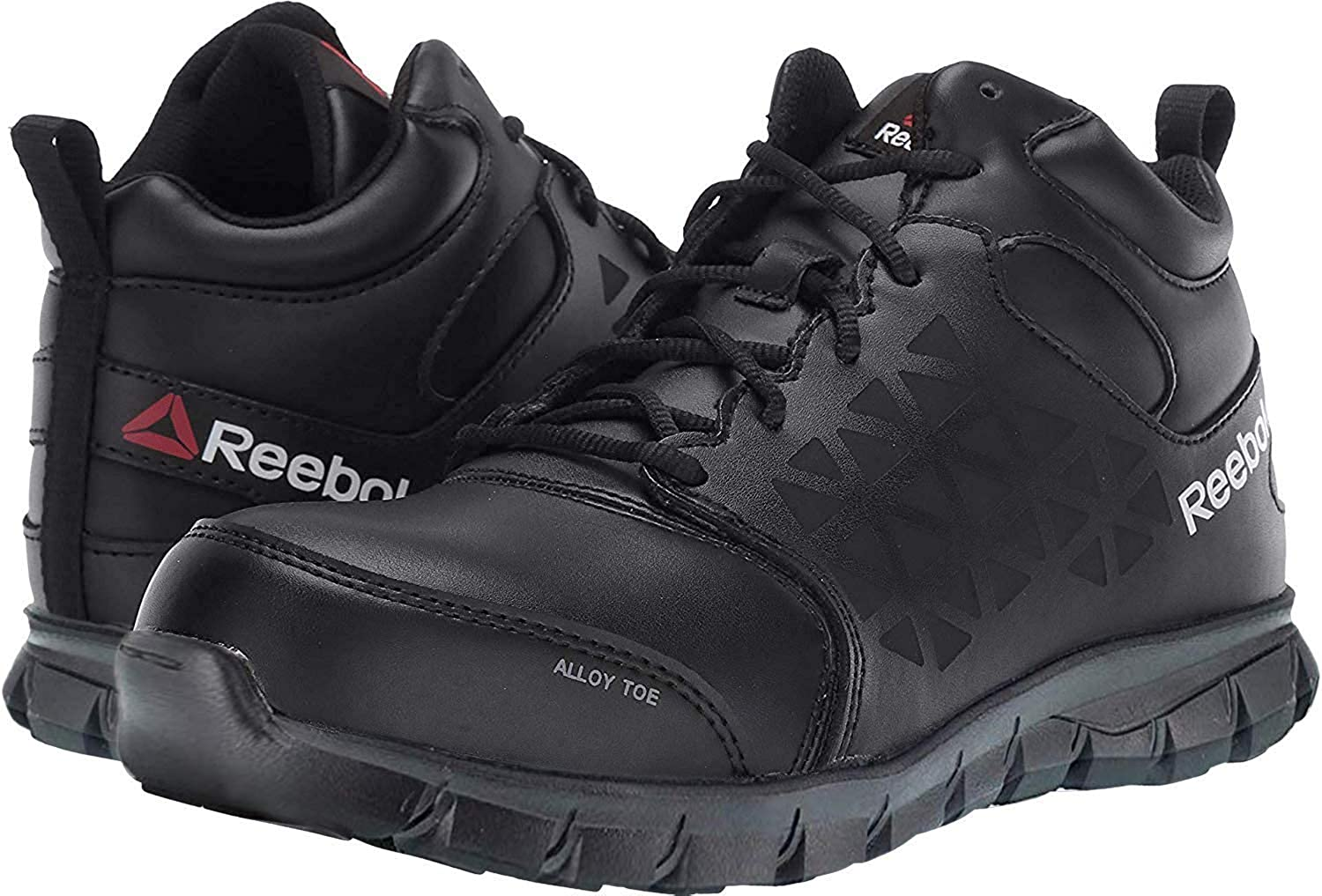 Reebok Men's Grey Sublite Cushion Work Shoes Alloy Toe Black