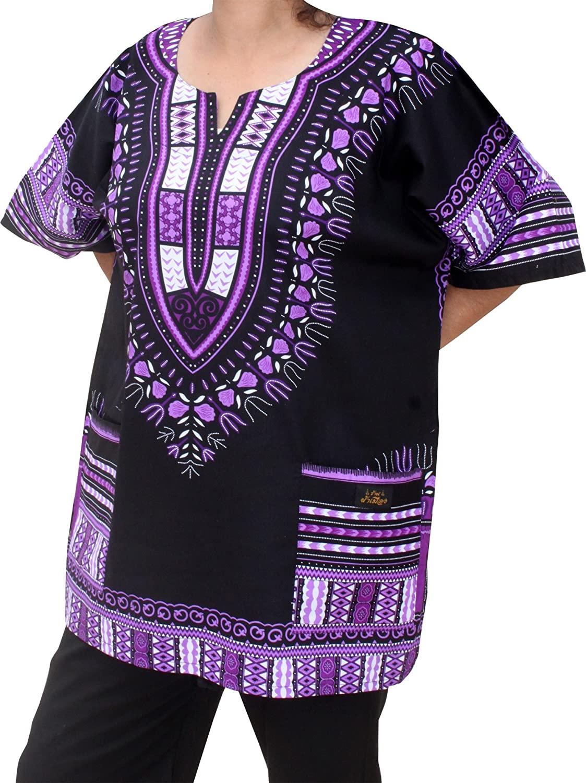 RaanPahMuang Unisex African Dashiki Kaftan Shirt XS - 7XL, 5X-Large, Black Purple