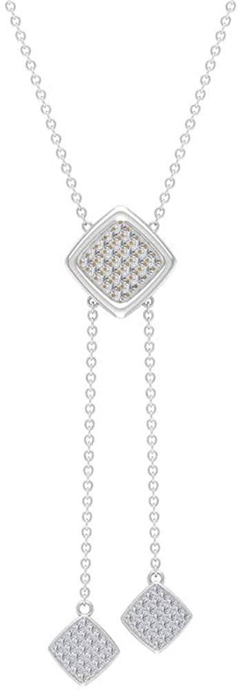 0.35CT Pave Certified Diamond Cluster Square Drop Pendant, Solid 14k Gold Chain Charm Adjustable Bridal Pendant, Vintage Statement Anniversary Pendant