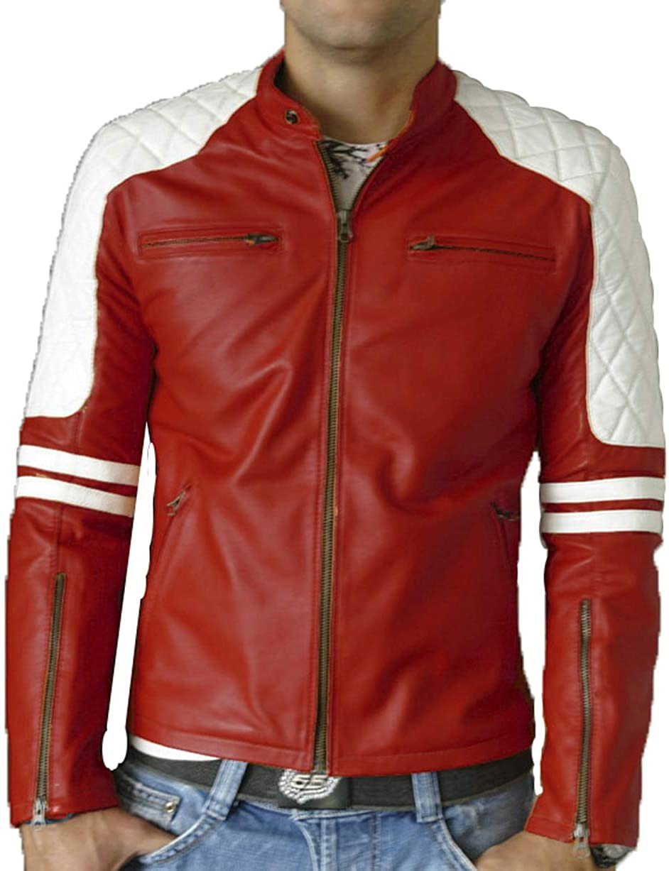 SKINOUTFIT Mens Leather Jacket Motorcycle Bomber Biker Genuine Lambskin 110