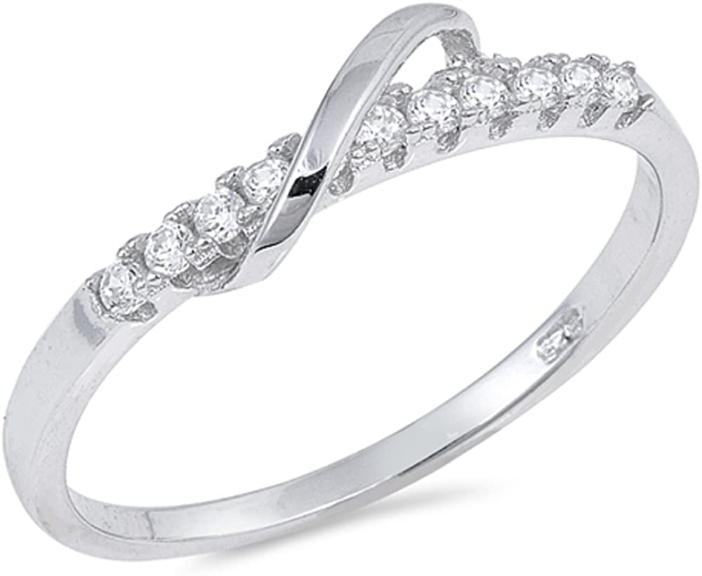 CLOSEOUT WAREHOUSE Clear Cubic Zirconia Designer Petite Ring Sterling Silver Size 5
