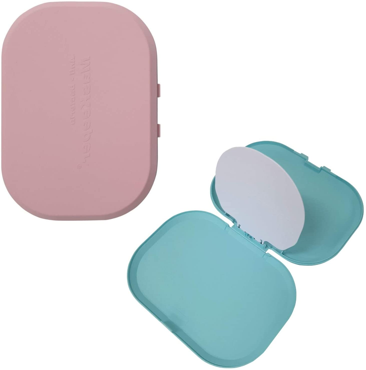 I'm K Mask Case, Thin Mask Storage Box, Mask Keeper, Fit To Bags and Pockets, Made with Innores technology, 2 Cases, Washable and Reusable (Pink & Mint)