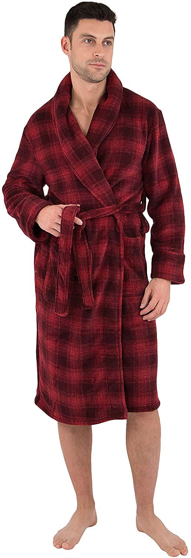 Mens Plaid Cozy Plush Robe