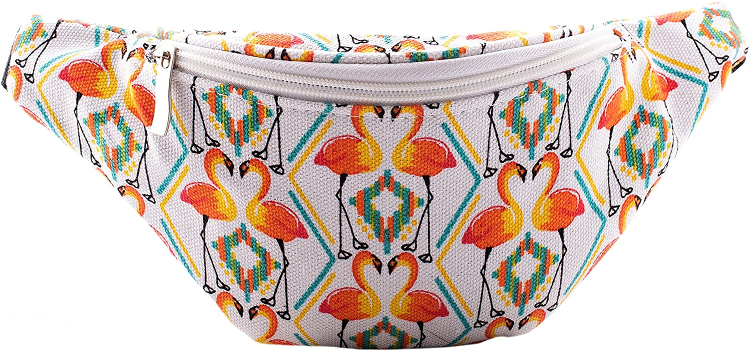 Fanny Waist Pack Rave Bag - Hippie Boho Festival Phanny Bum Packs - Flamingo - Orange