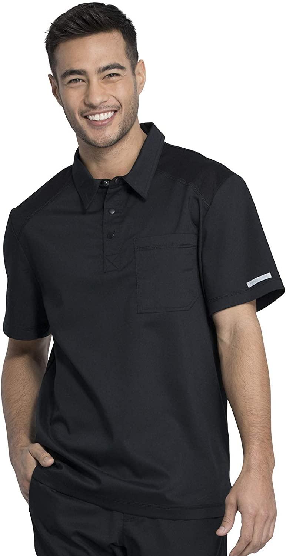 CHEROKEE Workwear WW Revolution Men's Men's Polo Shirt, WW615, XS, Black