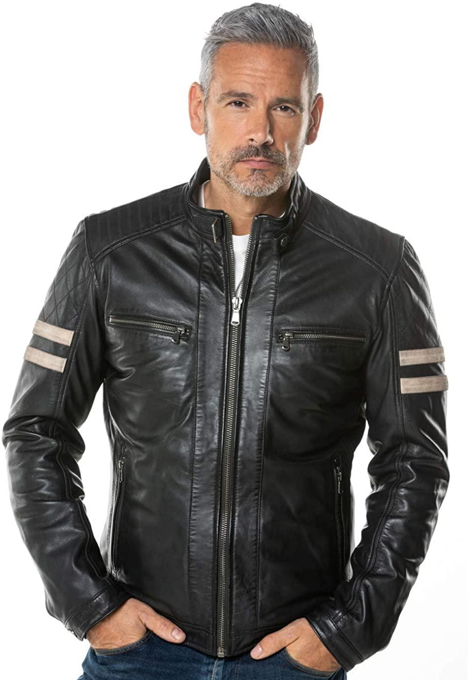 Benjer Skins Mens Genuine Lambskin Bomber Biker Motorcycle Leather Jacket X-Large Black 105