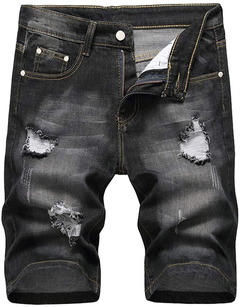 chouyatou Men's Essential Rippled Holes Straight Leg Stretch Summer Jean Shorts