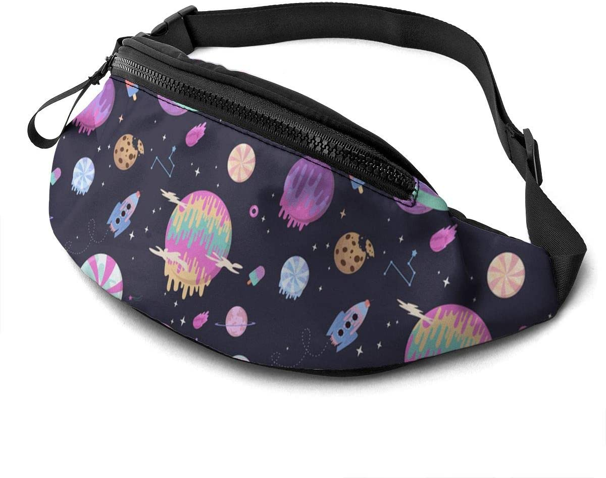 fantasy chocolate cookie, candy, donut, caramel sweets planets Fanny Pack for Men Women Waist Pack Bag with Headphone Jack and Zipper Pockets Adjustable Straps