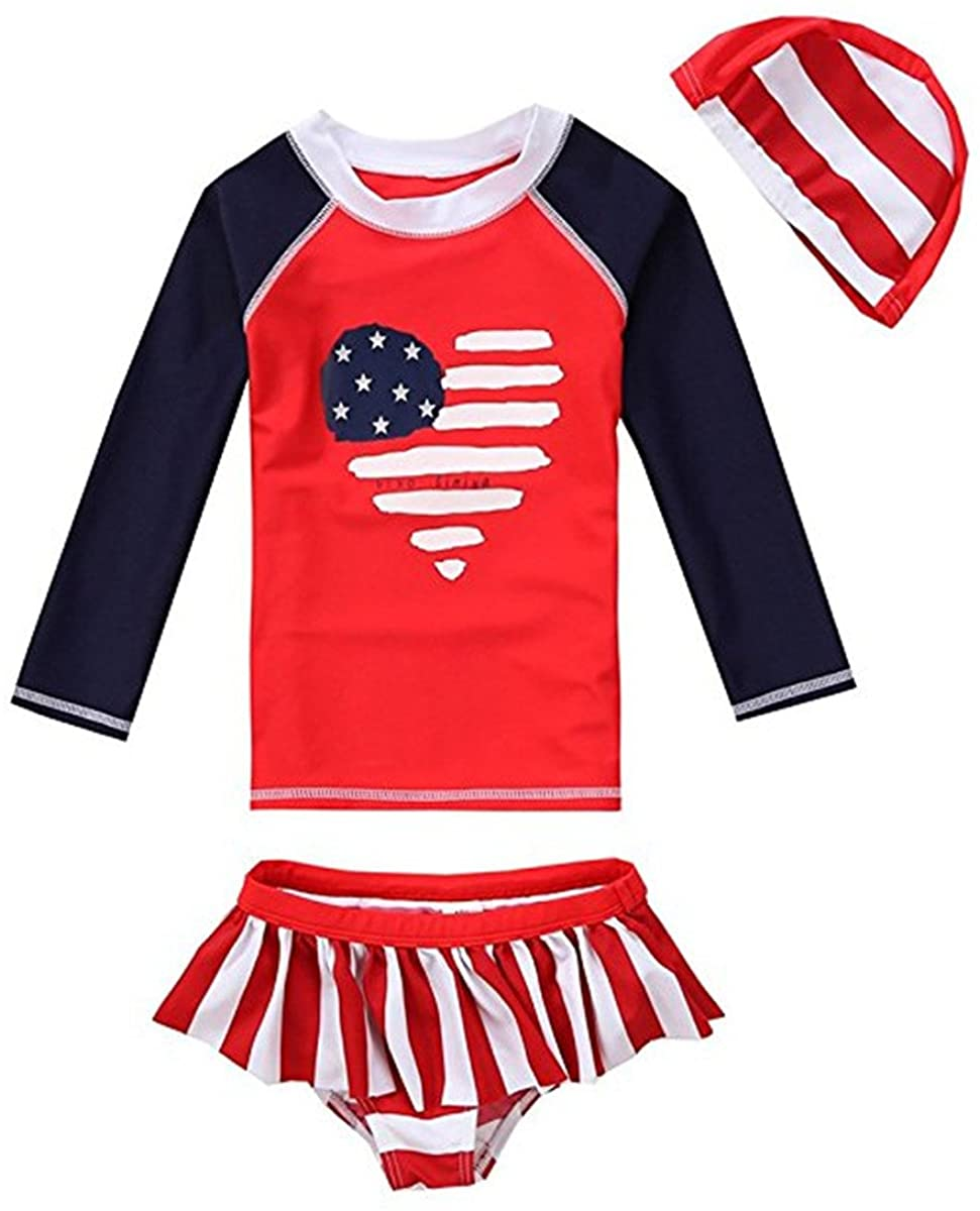 Baby Kids Girls Kids 3 Pieces Long Sleeves Sun Protection Heart Stripe UV Rash Guard UPF 50+ UV Swimsuit