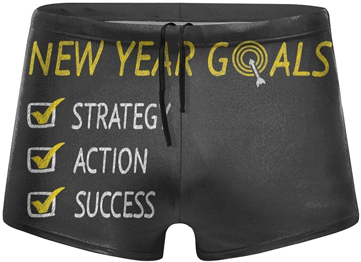 New Year Goals Men's Swimming Trunks Boxer Shorts Simple Tight Shorts Swimwear
