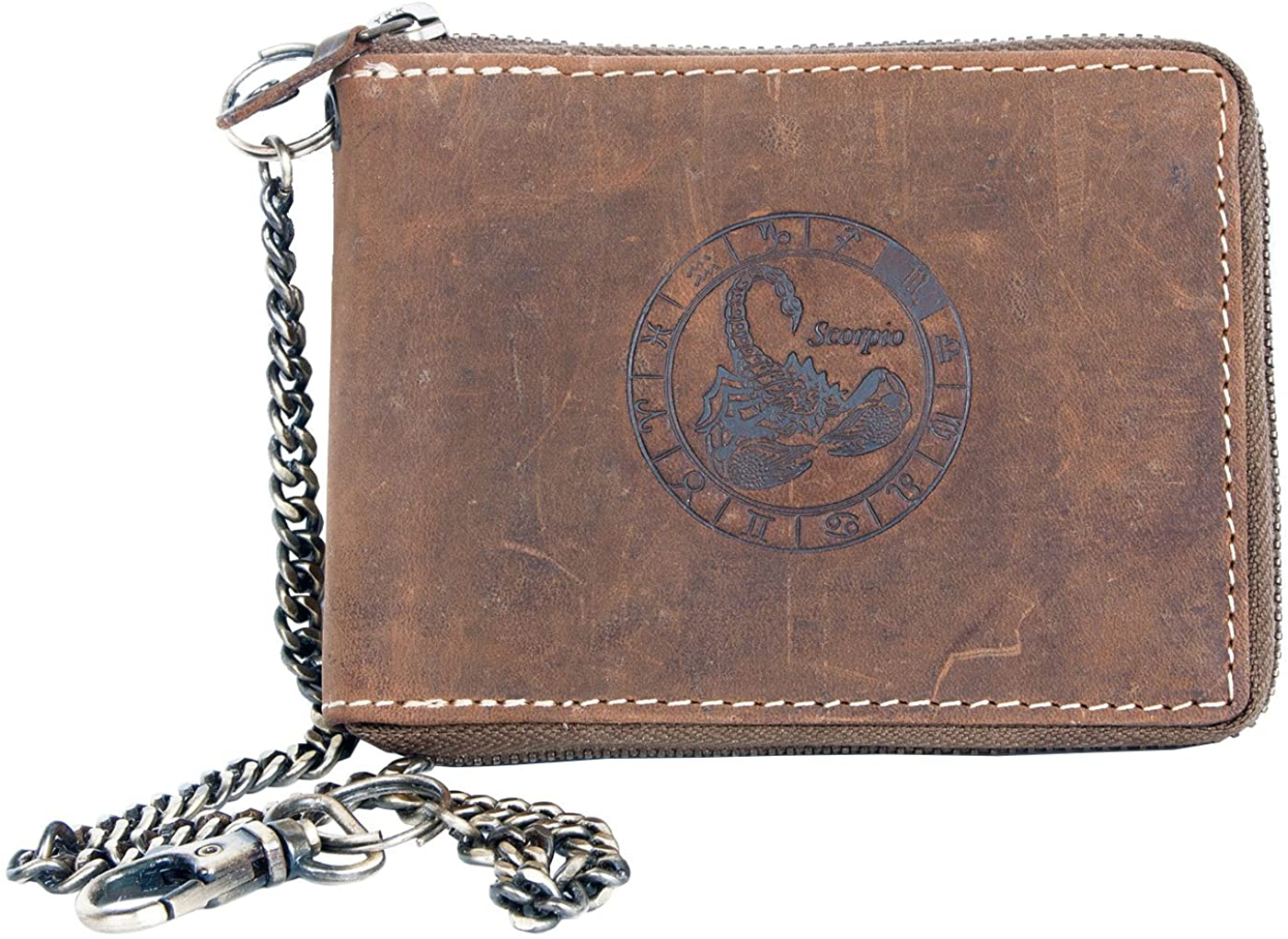 Genuine Leather Wallet Metal Zip-around With Metal Chain With Zodiac Sign Scorpio