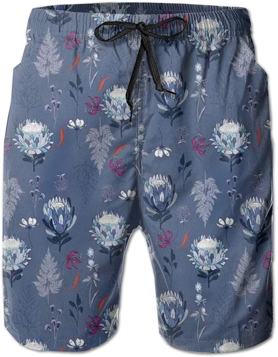 Men's Swim Trunks Quick Dry Beach Shorts Soft Blue Tone Protea Flowers Flourishing in Abstract Garden Retro Floral Theme L