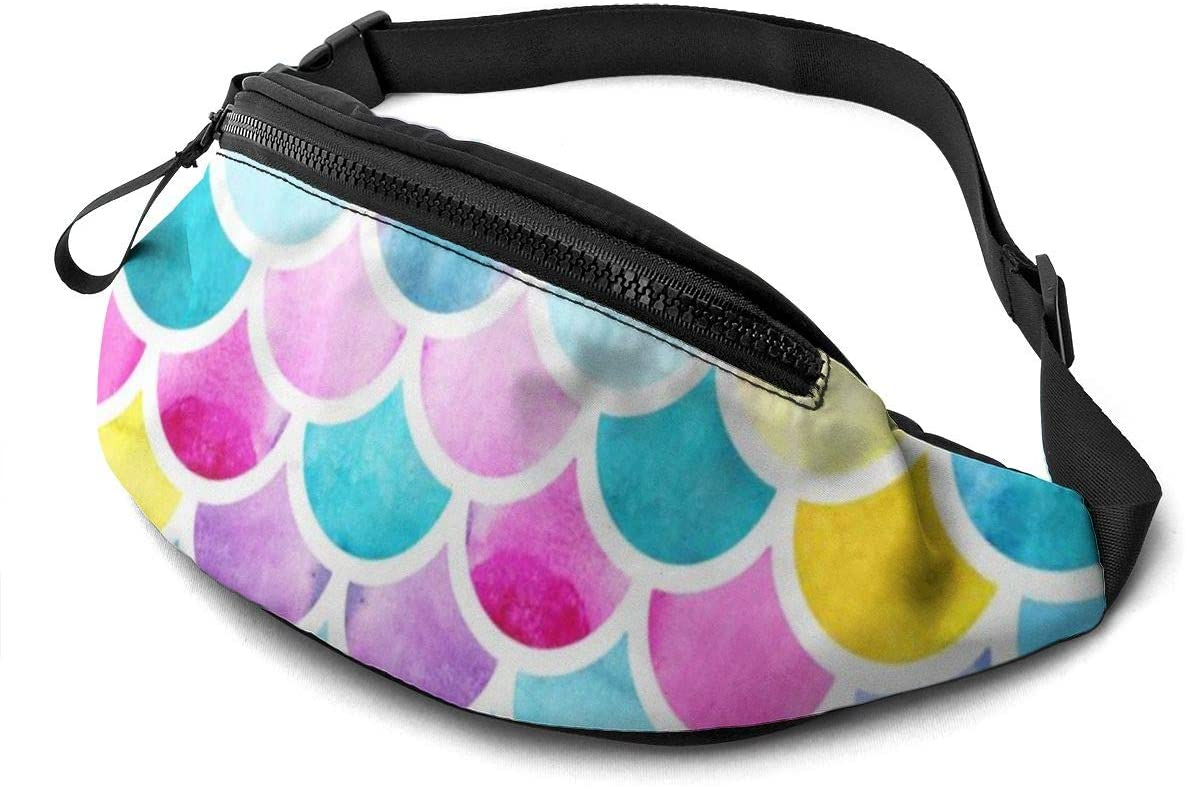 Colorful Watercolor Fish Scales Fanny Pack Fashion Waist Bag